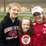 A trio of Future Coug personalities and possibilities (l to r): Ethan, Jillian, and Laura Davis, children of Ryan ('99, Nat. Res. Mgmt.) and Harmony ('97, Human Dev.).