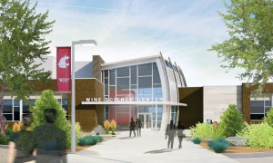 The Architect's rendering of the front entrance of the Wine center.