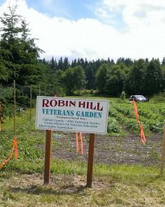 Robin Hill Veterans Garden sign.
