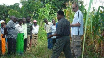 Dan TerAvest, right, leads a field day in Malawi, explaining conservation agriculture results to dozens of farmers.