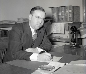 M.E. Ensminger, pictured in 1942, led the Animal Sciences department at WSU for 21 years, hosting thousands of farmers at the livestock pavilion. The restored pavilion was named in his honor.