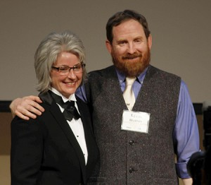 Kevin Murphy, the Robert A. Nilan Endowed Chair in the Department of Crop and Soil Sciences, receives his Faculty of the Year award from CAHNRS Acting Dean Kim Kidwell.