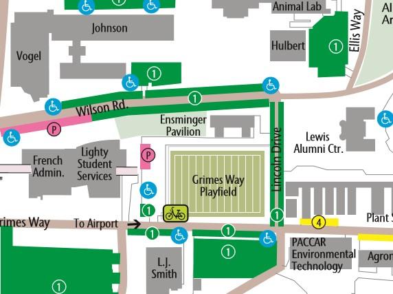 Parking map near Ensminger Pavilion.