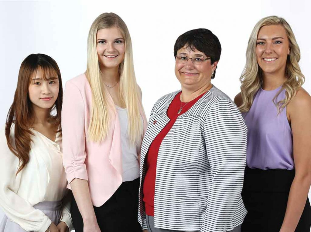 WSU First Lady Noel Schulz with Jenny Chan, Kaisha Bauer, and Leah Schwallie.