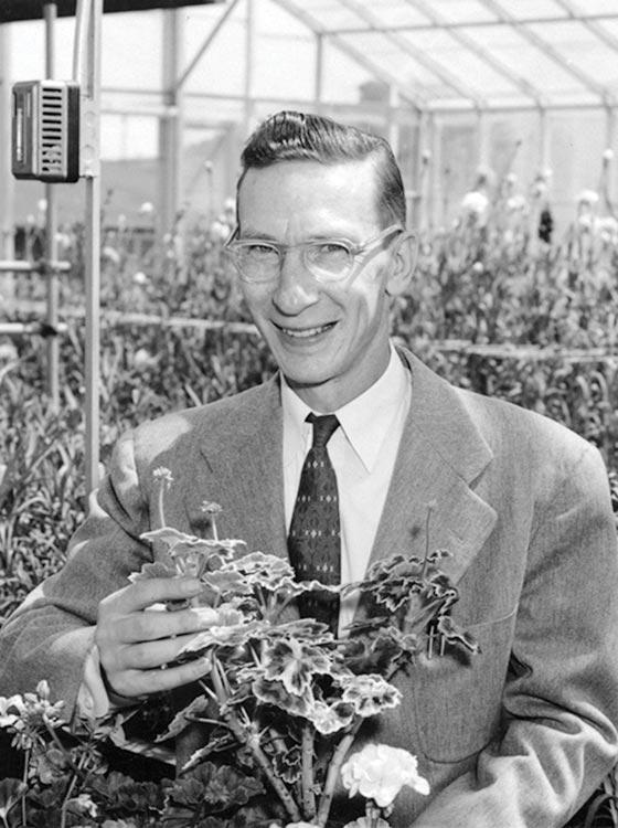 """Professor Elwood """"Woody"""" Kalin in a green house."""