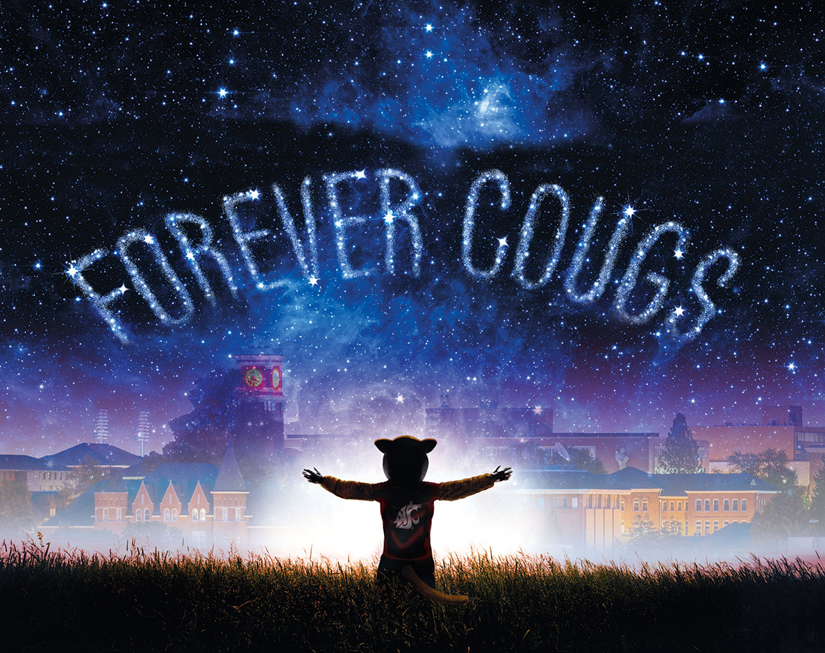Butch T. Cougar looking onto campus on a starry night with Forever Cougs spelled in stars.