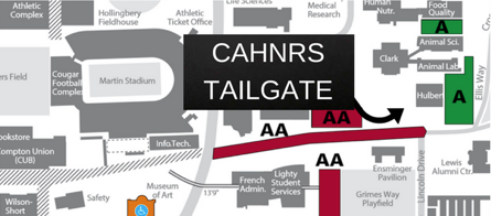 Map to the tailgate location (Spillman Plaza, next to Hulbert Hall)