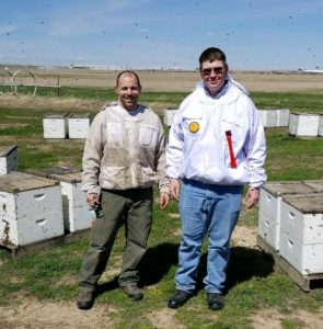 Riley Reed with Dr Hopkins in the beekeeping field, some bees flying around