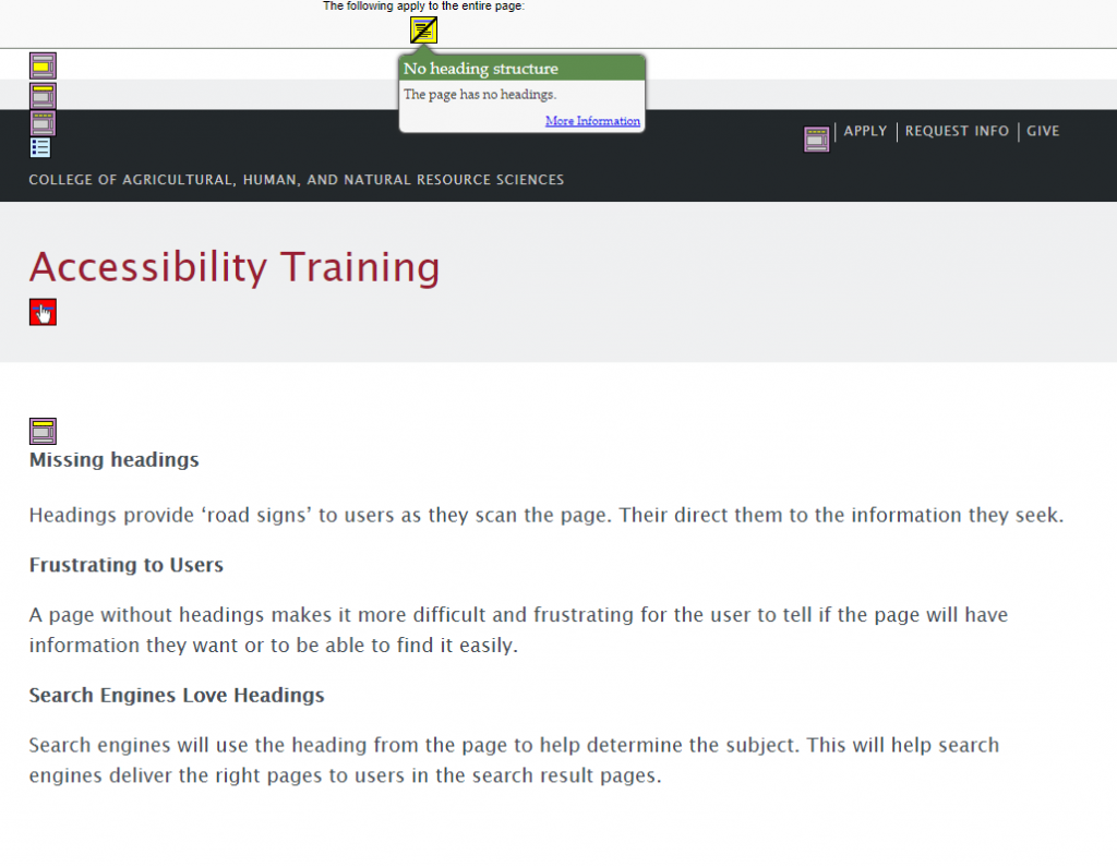 screen capture of the webpage using WebAIM Wave Evaluation Tool showing the missing Heading 1 and no other headings.