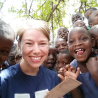 Veterinary student Cassie Eakins with Tanzanian children