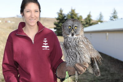 Mindy Lynn with Gus, a Great Gray Owl