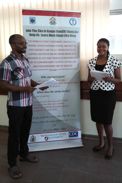 Dr. Eric Osoro and Harriet Mireiri reviewing study procedures