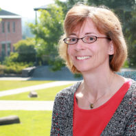 Closeup of Barbara Sorg outdoors on the WSU Vancouver campus.