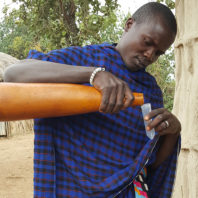 Maasai man in Tanzania pouring milk from calabash gourd