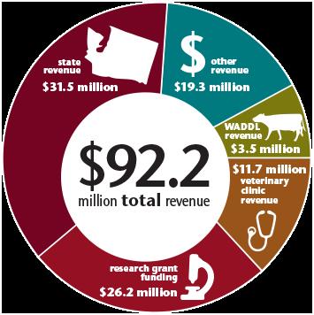 Pie chart of revenue categories.