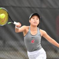 Savanna Ly-Nguyen playing tennis