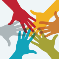 An array of multicolored hands reach out and touch each other.