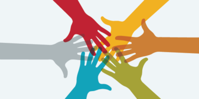 multicolored hands reach out and touch each other