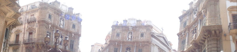 Panoramic photo of Quattro Canti square in Palermo, Sicily, Italy. Three out of four parts are visible. Sourced at Creative Commons: https://www.flickr.com/photos/99852712@N04/9458235342/