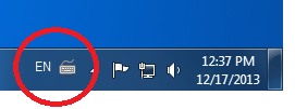 English Keyboard icon on Windows Taskbar