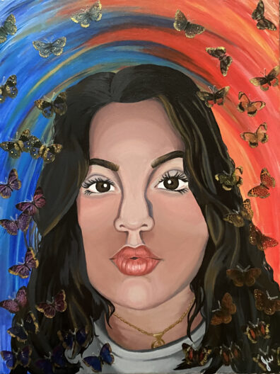Vibrant painting of a dark-eyed, dark-haired young woman's face, surrounded by swirling butterflies and vivid colors.