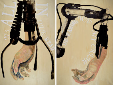 Two images of a hand attached to a mechanical device wrapped with text.