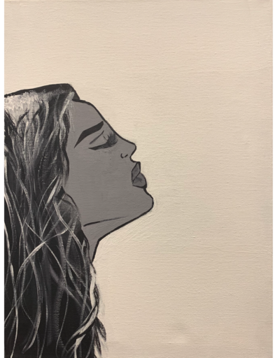 Drawn image of the profile of a young woman's face with eyes closed and chin raised in ambiguous air of grief or defiance.