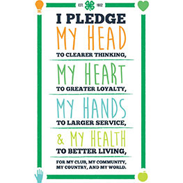 I pledge my head to clearer thinking, my heart to greater loyalty, my hands to larger service and my health to better living for my club, my community, my country, and my world.