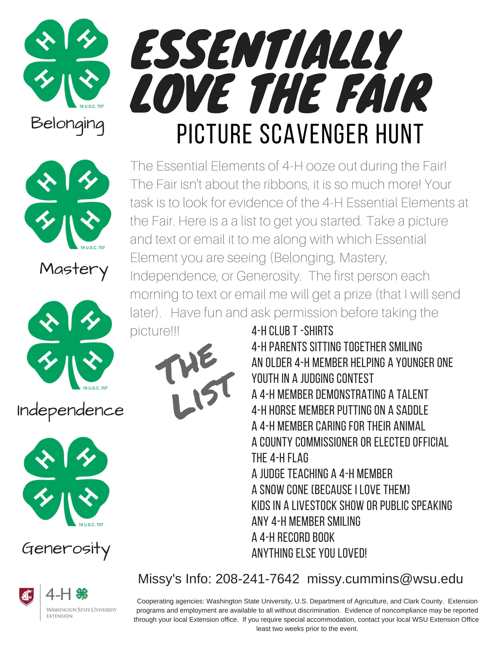 Scavenger Hunt List >> Essentially Love The Fair Scavenger Hunt Klickitat County