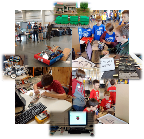 collage of youth doing robotics and technology activities.