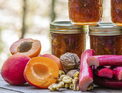 Homemade apricot rhubarb conserve with walnuts