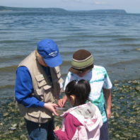 Beach naturalist with kids