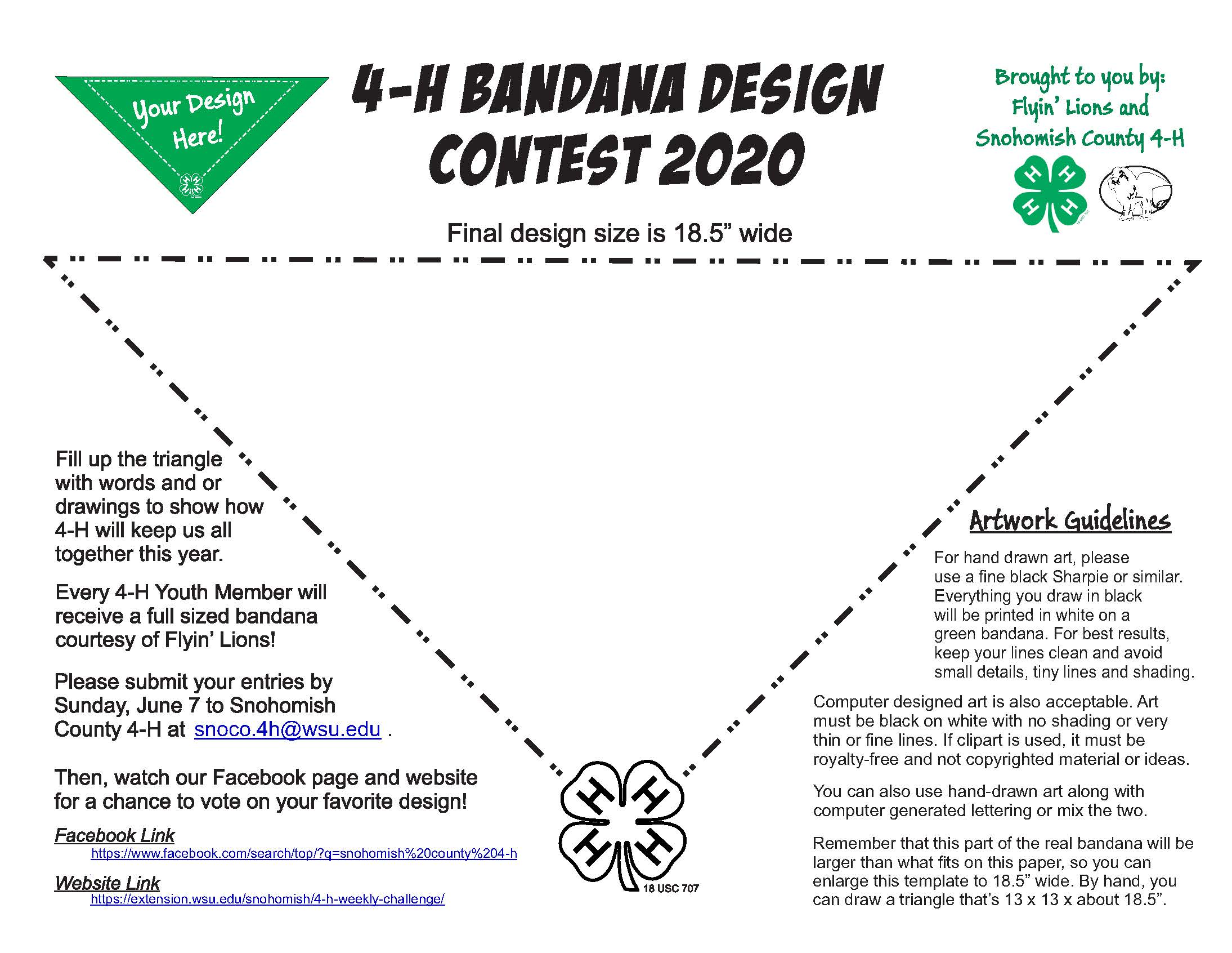 Instructions and triangular design space for 4-H bandana contest.