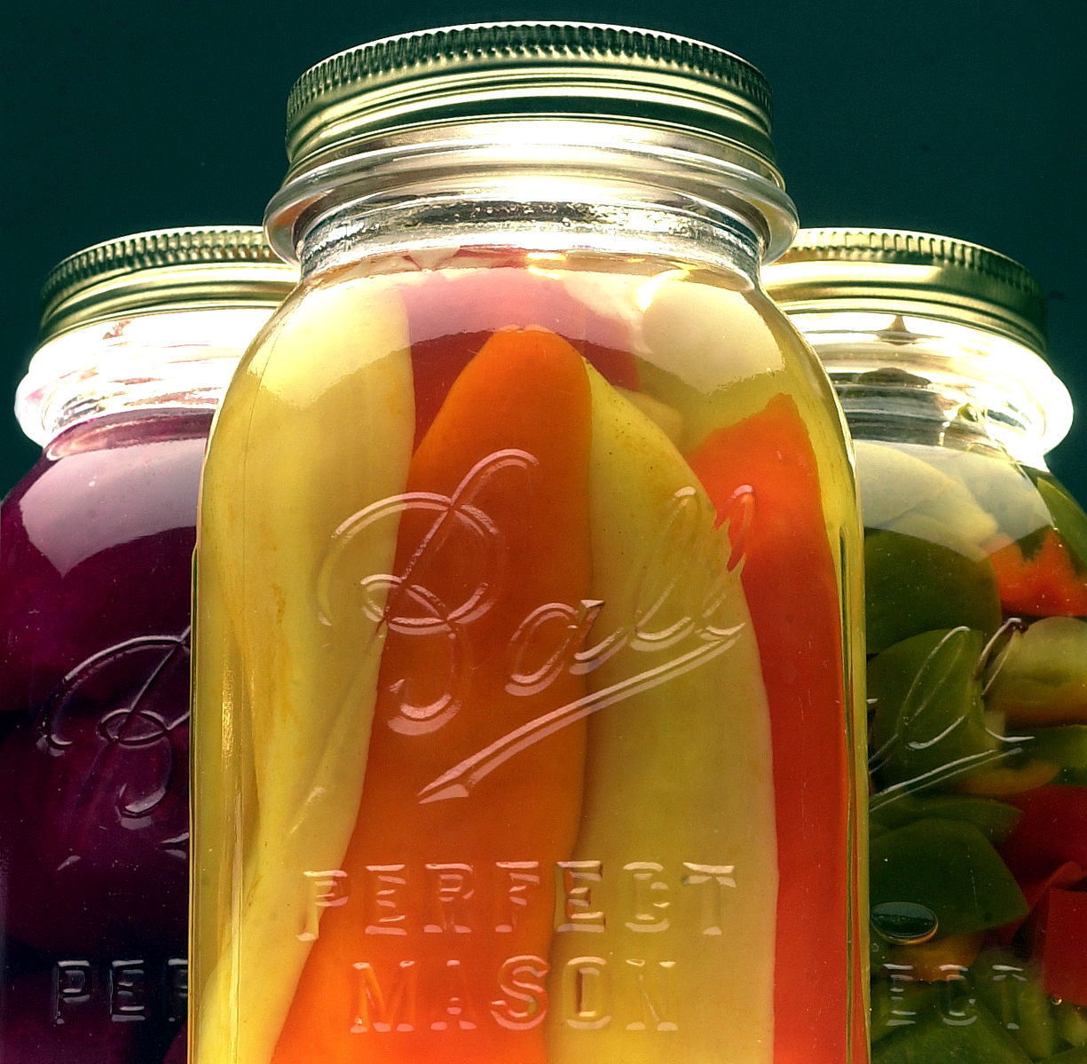 canning jars with product