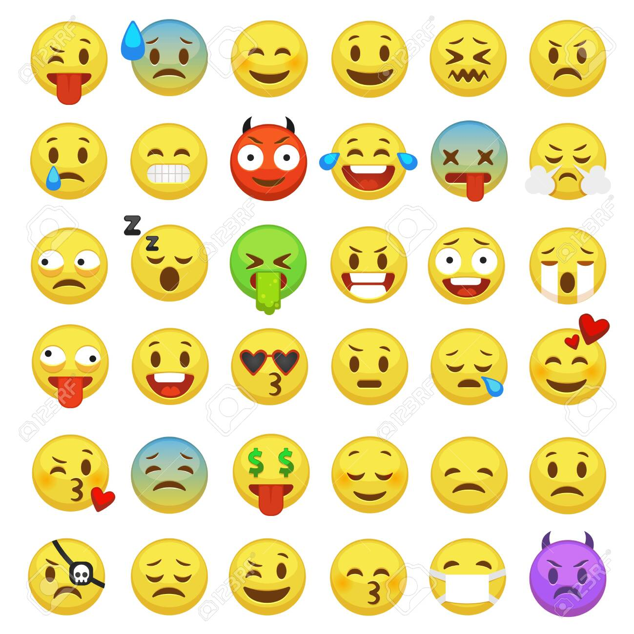 Emojis showing many emotions.