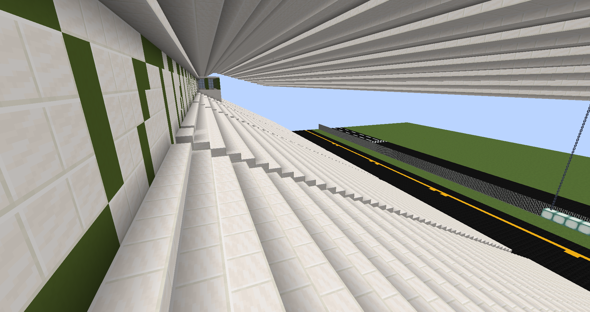 Minecraft version of stadium seating at Evergreen State Fairgrounds.