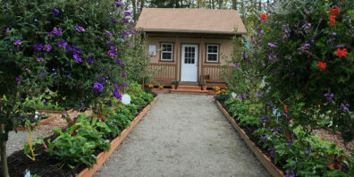 gravel path raised be garden with shed in center
