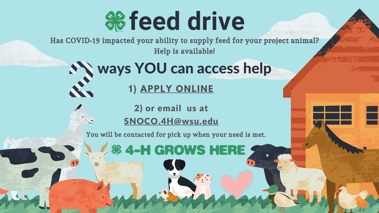 4-H animals with instructions for obtaining aid at local feed stores.