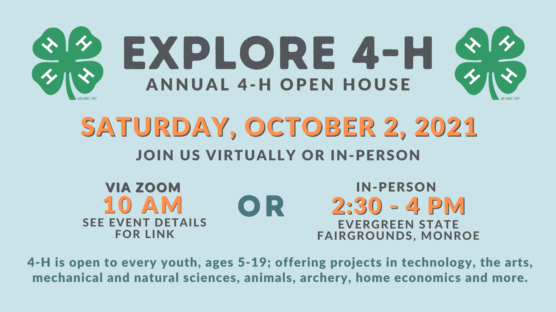 Graphic describing 4-H open house opportunities; image is also a link to the virtual open house on October 2nd.