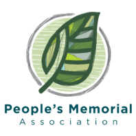 Green leaf with circle and People's Memorial Association
