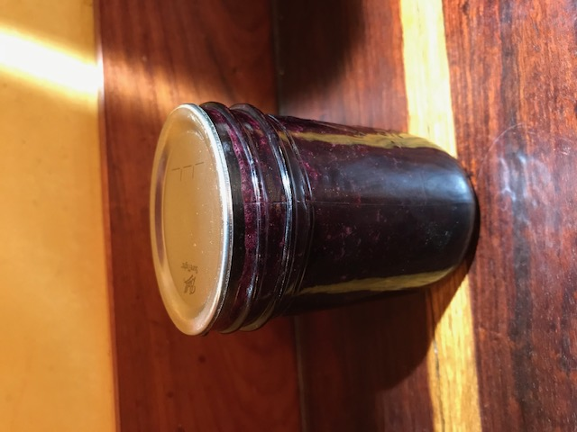 Small jar blueberry jam.