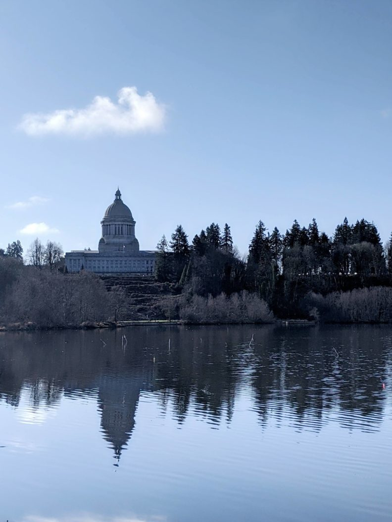 Photo of the WA State Capitol building reflecting in water.