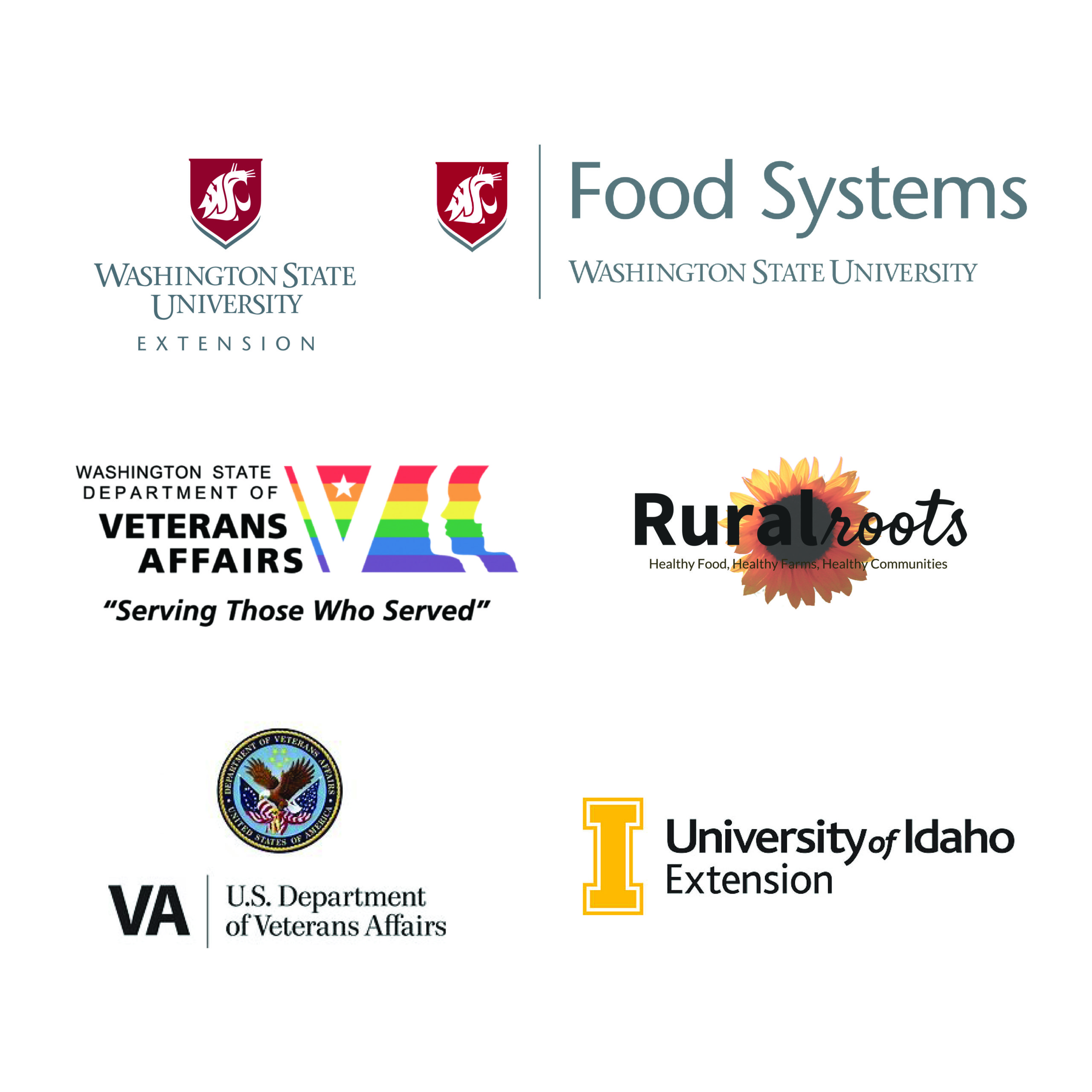 Logos of participating partners: WSU Food Systems, Rural Roots, WA State Veterans Affairs, WSU Extension, University of Idaho Extension