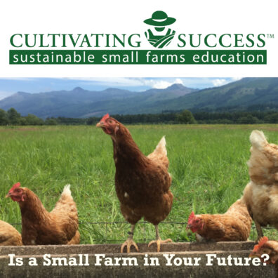 hens on a fence with green pasture. Cultivating Success logo and type: Is a small farm in your future?