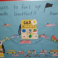 A student-created mural promoting fueling up with a healthy breakfast.