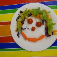 Students created fruit and vegetable faces as an healthy and fun snack.
