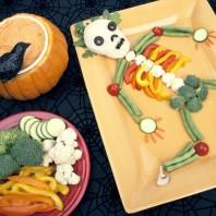 Vegetables arranged in the shape of human skeleton
