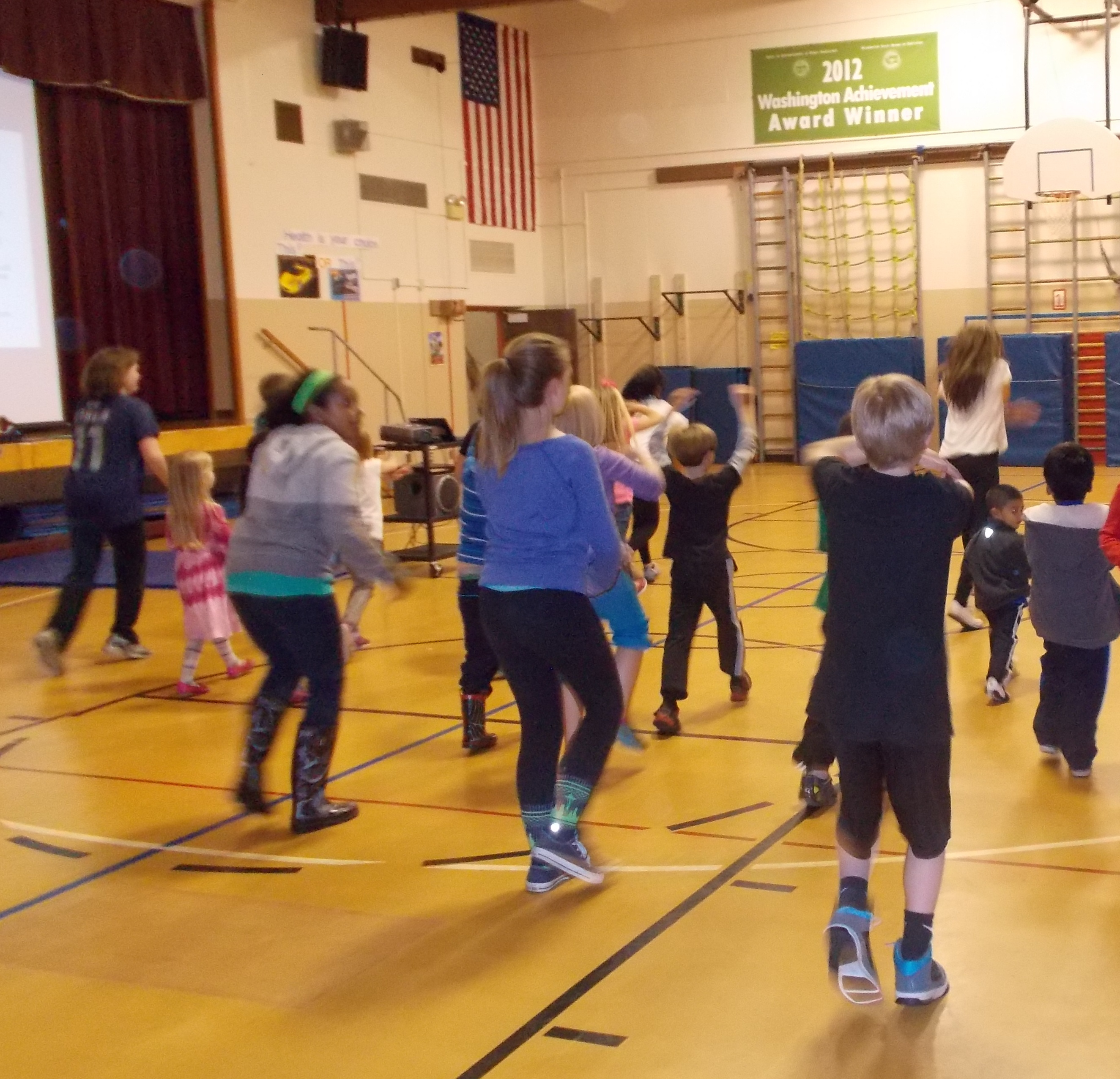 Families at Covington Elementary School enjoy an active family night event.