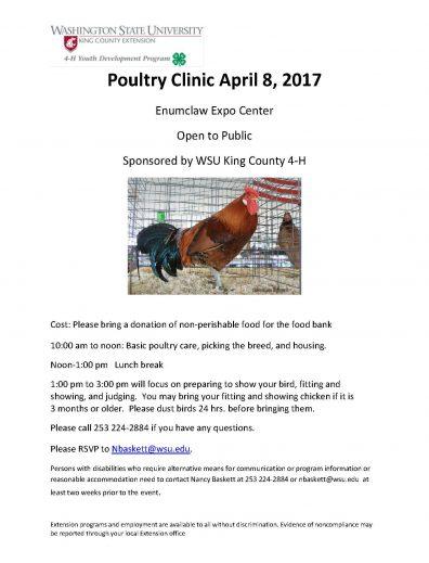 Poultry Clinic April 8, 2017 | King County | Washington
