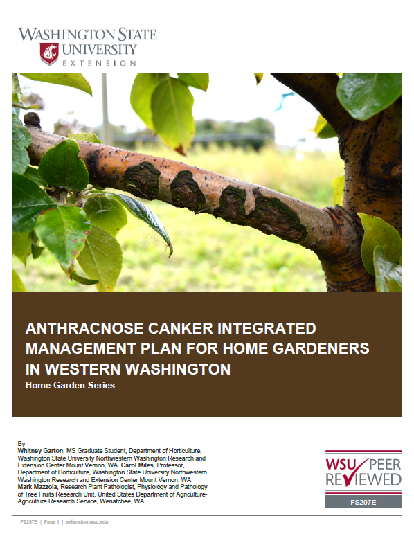 Anthracnose Canker Intedgrated Management Plan for Home Gardeners in Western Washington brochure cover with photo of branch with canker